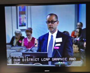 Randall Putz testifies before the California State Board of Education